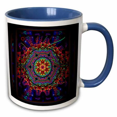 3dRose MANDALA 4 mandala india buddhism hinduism psychedellic new age harmony balance meditation - Two Tone Blue Mug,