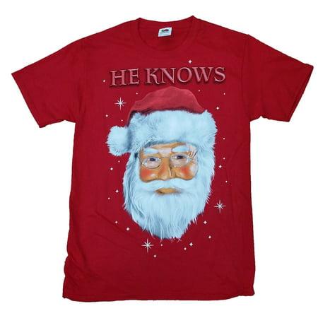 Dec 25th Mens Red Santa Claus He Knows Christmas T-Shirt - Red Santa Skirt