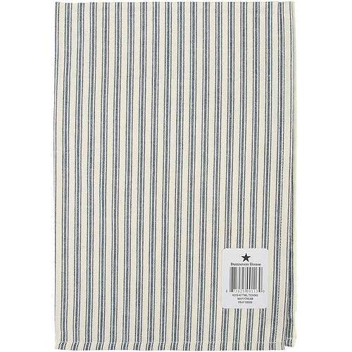 "Cream Ticking Stripe Dishtowel 20"" x 28"", Navy"
