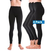 4-Pack Warm Fleece Lined Thick Brushed Full Length Leggings Thights