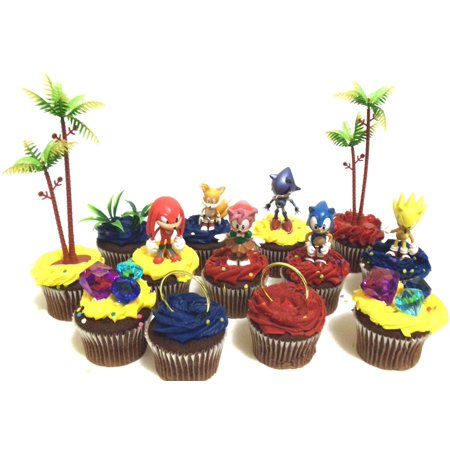 Classic SONIC THE HEDGEHOG Birthday CUPCAKE Topper Set Featuring Super Sonic, Amy Rose, Miles Tails Prower, Sonic, Metal Sonic and Knuckles, Themed Decorative Accessories - Figures average 2.5