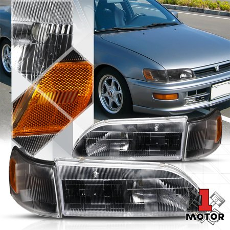Black Housing Crystal Lens Headlight Amber Corner Turn Signal for 93-97 Corolla 94 95 96