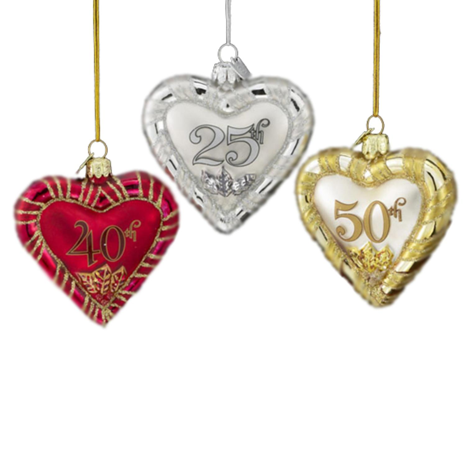 """Pack of 8 Anniversary Heart Hand Blown Glass Christmas Ornaments 3.5"""""""