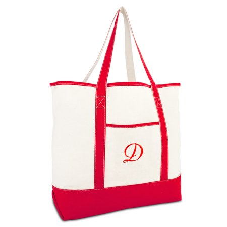 DALIX Monogram Bag Personalized Totes For Women Open Top Red Initial D](Initial Tote Bags)