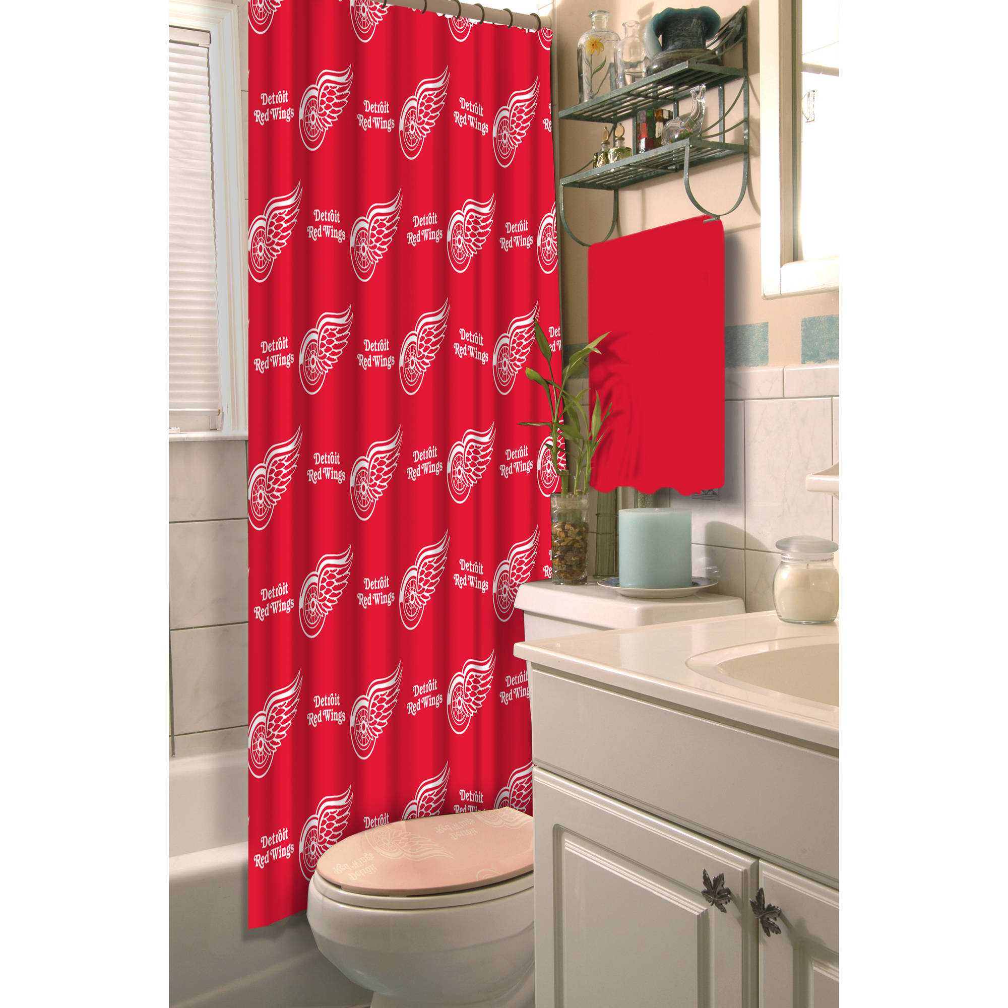 """NHL Detroit Red Wings 72"""" x 72"""" Shower Curtain, 1 Each"""