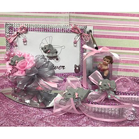 Baby Shower Elephant Guest Book and Corsage Favor Cake Decoration Cake Knife Server Set Baby Shower Baby Girl Gift](Baby Elephant Cake Topper)
