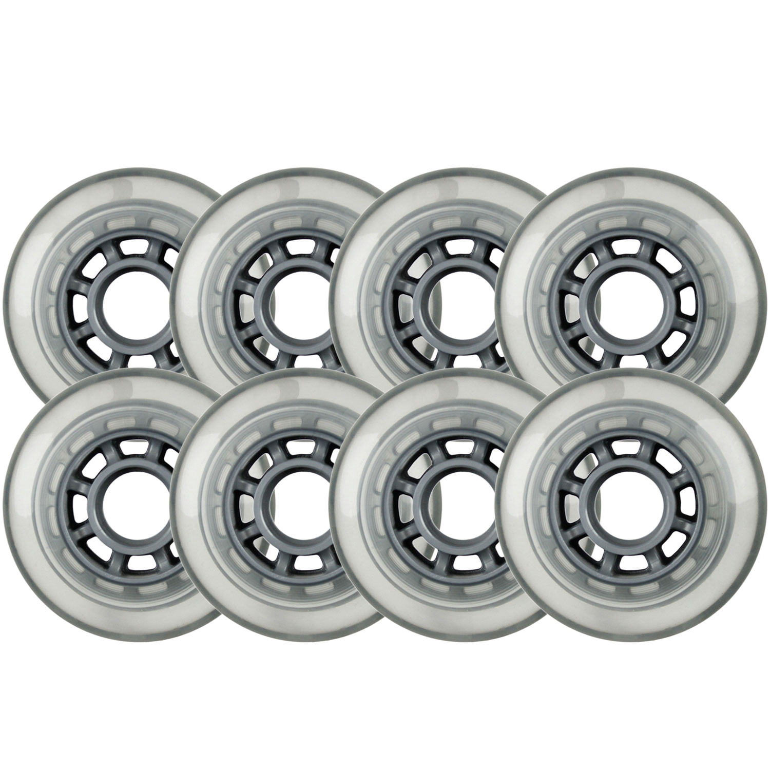 Indoor/Outdoor Inline Skate Wheels Roller Hockey 76mm 78a Clear 8-Pack