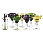 Mardi Gras Stainless Steel Cocktail Shaker and 6 Margarita Glasses Party Pack by Artland