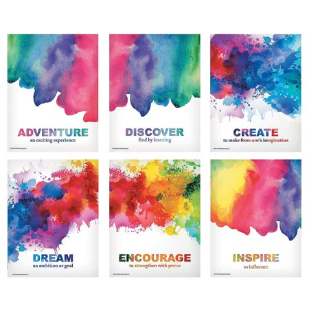 Fun Express - Watercolor Posters - Educational - Classroom Decorations - Classroom Decor - 6 Pieces
