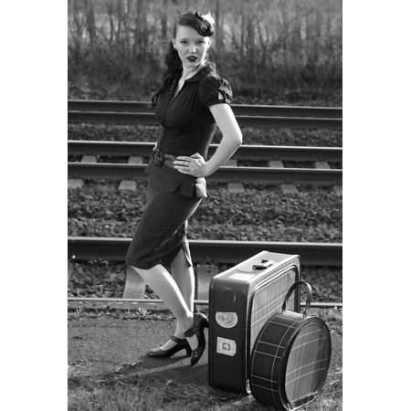 Canvas Print Pin Up Black and White Retro Photo Retro Nostalgic Stretched Canvas 10 x 14 (Nostalgic Photo)