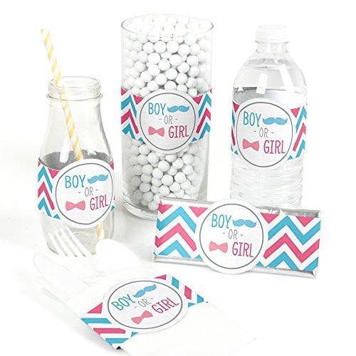 Chevron Gender Reveal - DIY Party Wrapper Favors - Set of 15