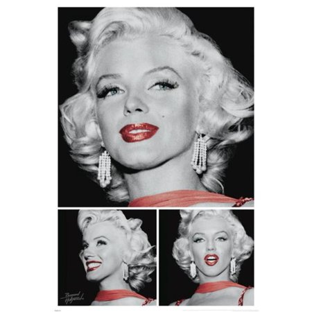 Marilyn Monroe Red Lips Bernard Ff Hollywood Movie Star Icon Poster   24X36 Inch
