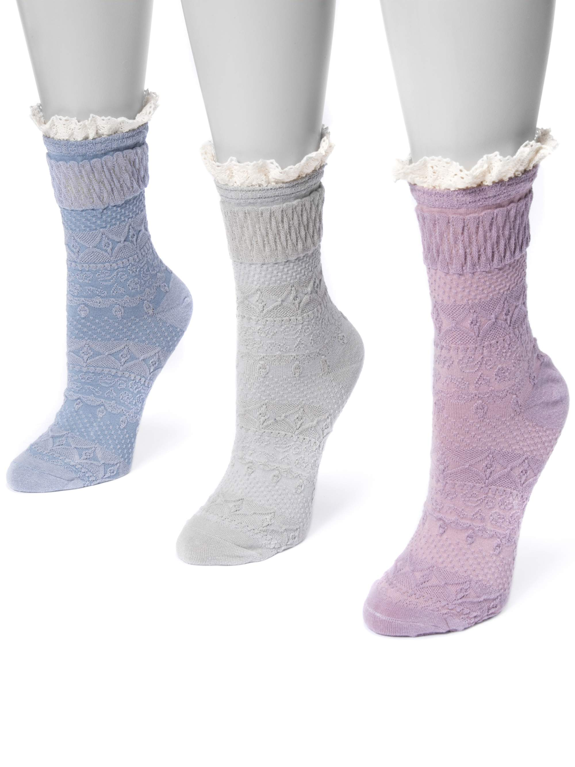 Women's 3 Pair Pack Lace Top Boot Socks