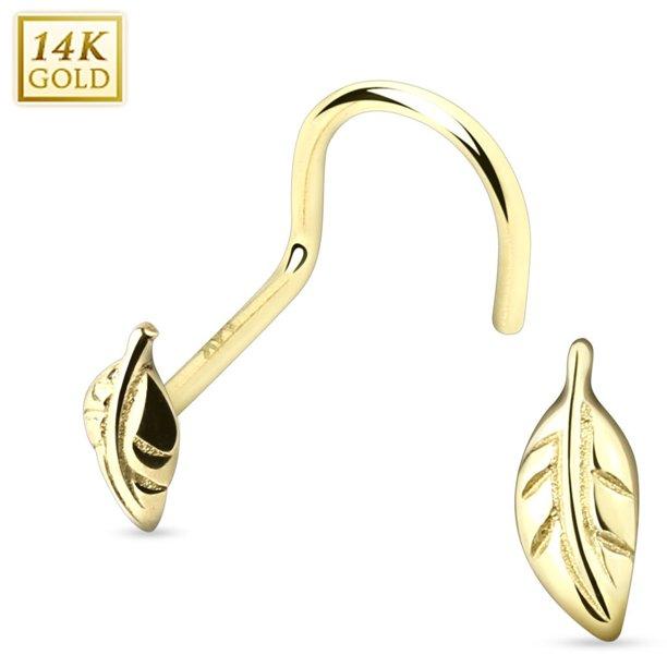 N A Nose Ring Stud 14 Karat Solid Gold Leaf Nose Screw 20g