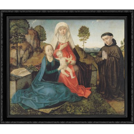 - Virgin and Child With St. Anne and a Franciscan donor 32x28 Large Black Ornate Wood Framed Canvas Art by Hugo van der Goes