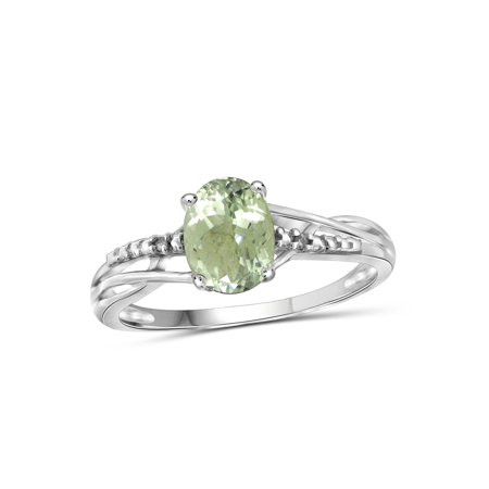 JewelersClub 1.30 Carat Green Amethyst Gemstone and Accent White Diamond Ring