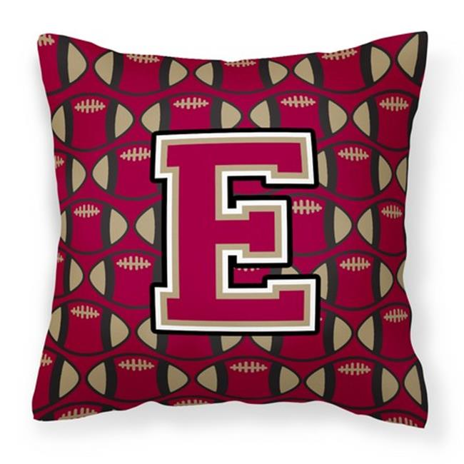 Carolines Treasures CJ1078-EPW1414 Letter E Football Garnet & Gold Fabric Decorative Pillow - image 1 de 1
