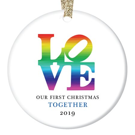 LOVE Christmas Ornament 2019 Our First Xmas Together Gifts for Boyfriend Girlfriend Gay First Holiday Anniversary Elegant Couple Present Ceramic 3