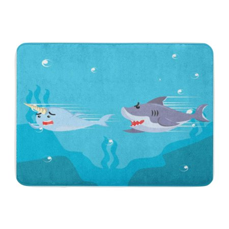 My Welcome Chase (KDAGR Blue Cute Narwhal Chased by Shark Aquatic Doormat Floor Rug Bath Mat 30x18)
