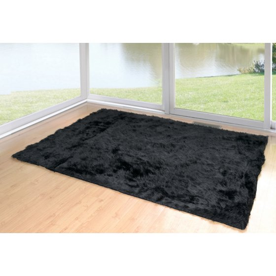 Ailis Faux Sheepskin Fur Area Rug Black Rectangular 8x5