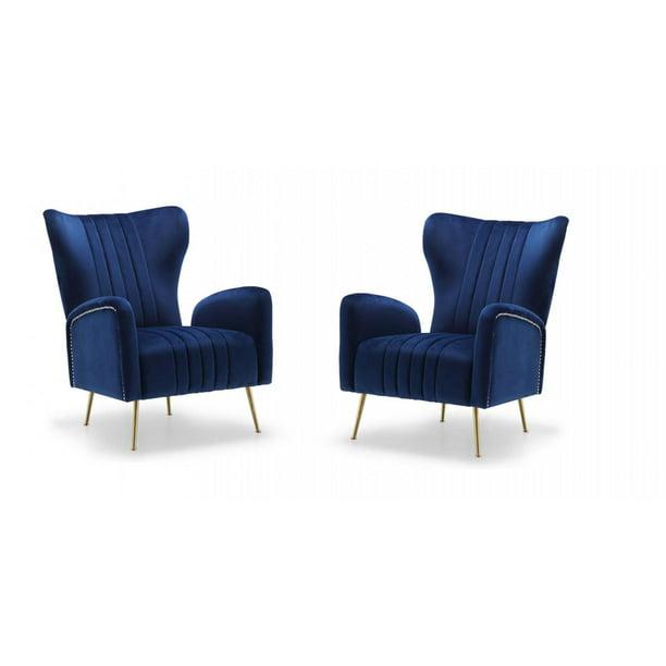 Navy Velvet Gold Stainless Legs Accent Chair (Set of 2) Meridian