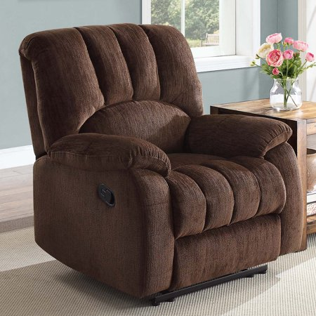 Mainstays Recliner with Pocketed Comfort Coils, Black Faux Leather ()