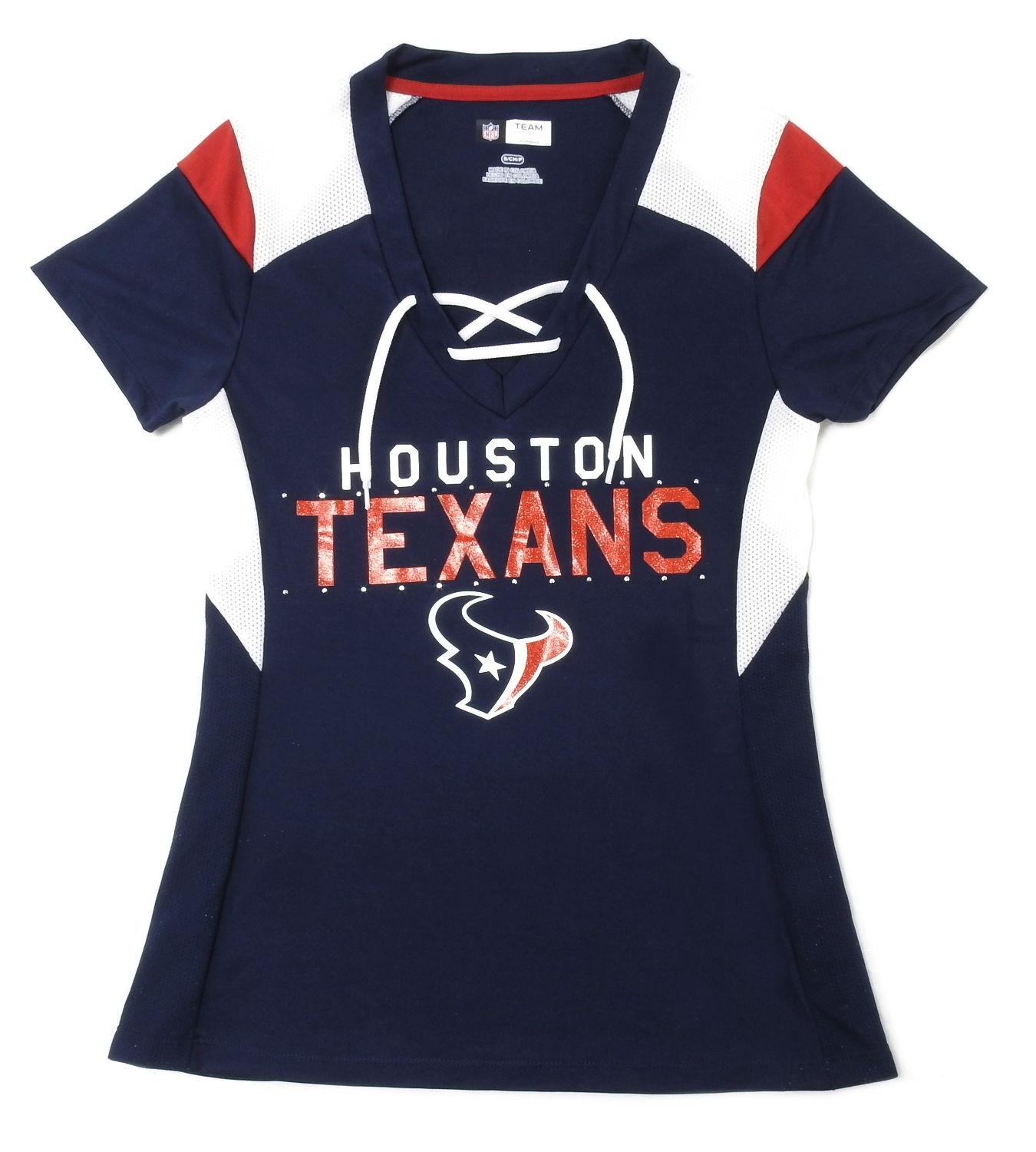 """Team Apparel NFL Womens Size Small """"Houston Texans"""" Tee, TRAD NAVY/WHITE/BR CARDINAL"""