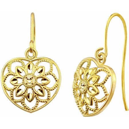 US GOLD 10kt Gold Petite Vintage Flower Heart Drop Earrings