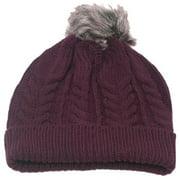 Girls Burgundy Faux Pompom Bobble Beanie Hat