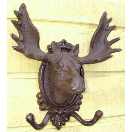 - cast iron rustic MOOSE HEAD w/ ANTLERS wall hook Plaque