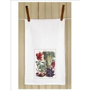 """Set of 3 Botanical Beets and Celery Print White Flour Sack Kitchen Hand Towels 29"""""""