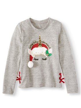 Holiday Time Lace-Up Christmas Sweater Knit Shirt (Little Girls, Big Girls & Plus)stmas Sweater Elf