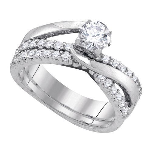 1.00Ct Diamond 0.50Ct Center Round Bridal Set Womens Fixed Ring Size - 7