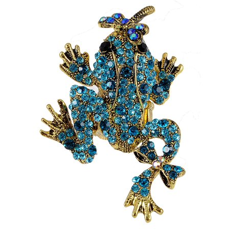 Antique Gold Tone Marine Blue Crystal Rhinestone Dragonfly Kisses Frog Toad Ring