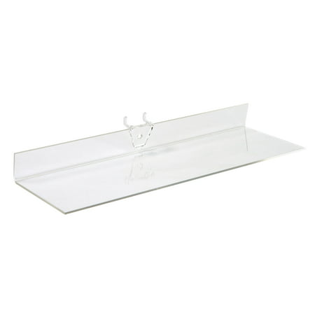 4 Clear Shelf Inlay - 12 x 4 inch Clear Acrylic Shelf - For Pegboard - Set of 2