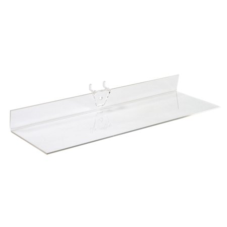 12 x 4 inch Clear Acrylic Shelf - For Pegboard - Set of