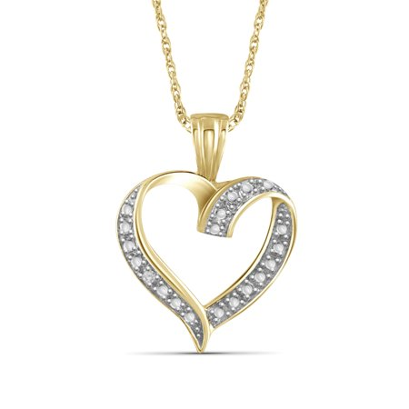 Diamond Open Heart Pendant - White Diamond Accent Gold over Silver Open Heart Pendant