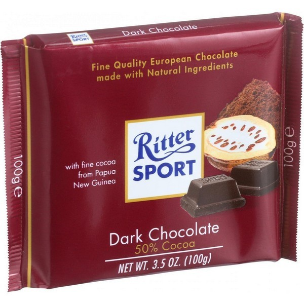 Ritter Sport Chocolate Bar - Bittersweet Chocolate - 50 Percent Cocoa - 3.5 Oz Bars - pack of 12