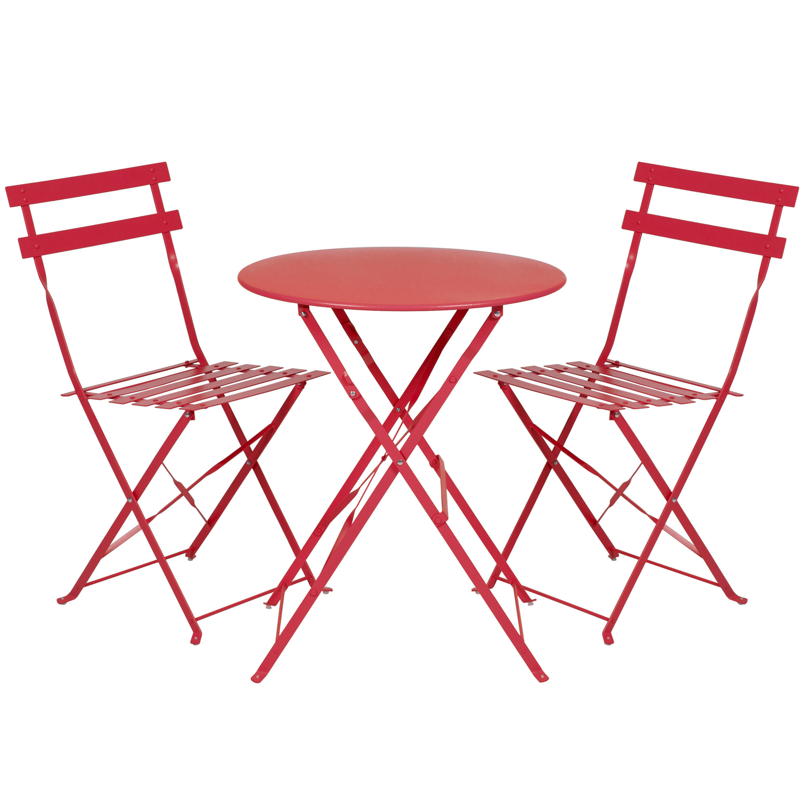 Best Choice Products 3-Piece Portable Folding Metal Bistro Set w  Table and 2 Chairs Red by Best Choice Products