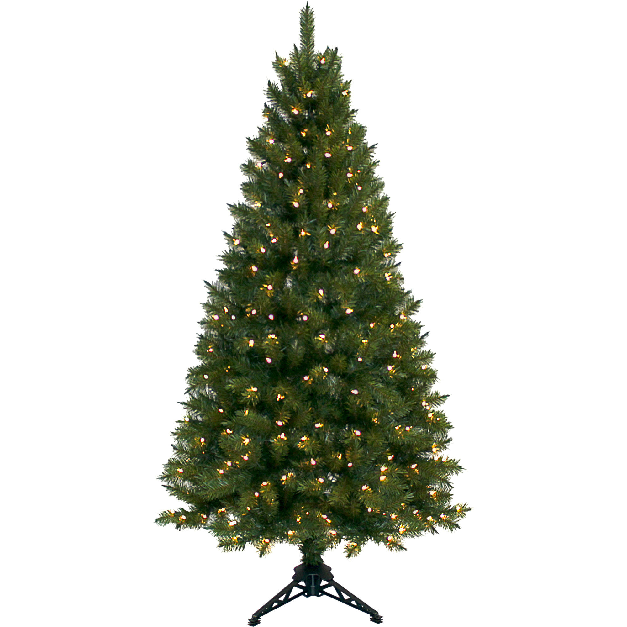 Pre-Lit 6' Half Christmas Tree, Green, Clear Lights - Walmart.com