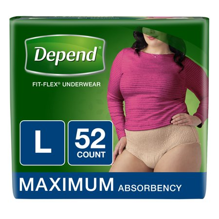 Depend FIT-FLEX Incontinence Underwear for Women, Maximum, L, (Choose Your Count) for $<!---->