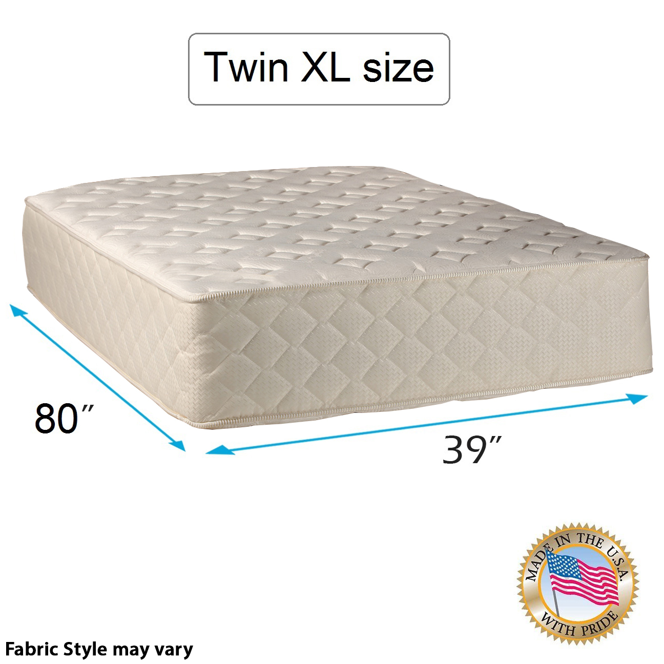 "Highlight Luxury Gentle Firm Twin XL Size (39""x80""x14"") Mattress Only - Fully Assembled - Spinal Back Support, Innerspring Coils, Premium edge guards, Longlasting Comfort - By Dream Solutions USA"