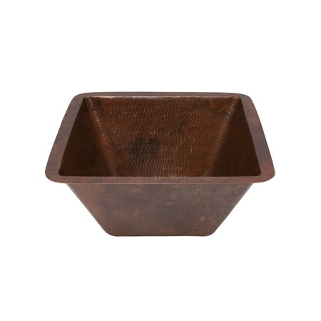 Premier Copper Products LSQ15DB 15 in. Square Under Counter Hammered Copper Bathroom Sink - Long Island 15' Counter