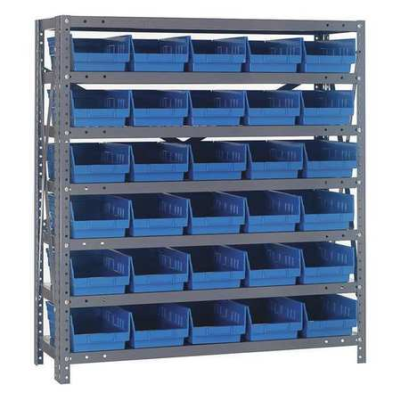 Bin Shelving, Solid, 36X18, 30 Bins, Blue QUANTUM STORAGE SYSTEMS 1839-104BL
