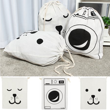 Aimeeli Cotton Sack Drawstring Storage Bag Toy Shoes Laundry Travel Stuff Clothes - Ge Laundry Accessories
