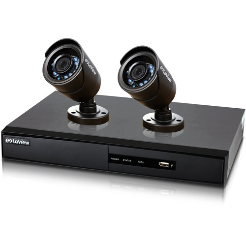 LaView Surveillance System 960H 4CH DVR with 500GB Storage and two 600TVL Security Cameras