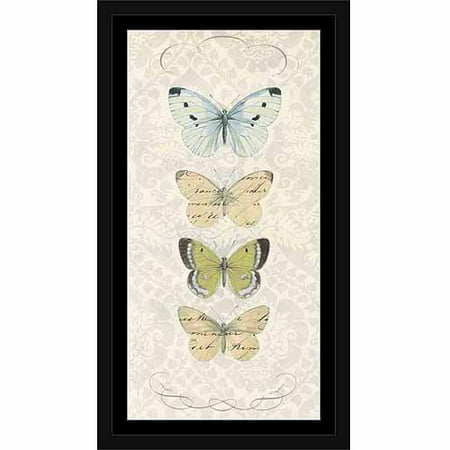 (French Vintage Butterfly Display Line Patterned Painting Tan & Grey, Framed Canvas Art by Pied Piper Creative)