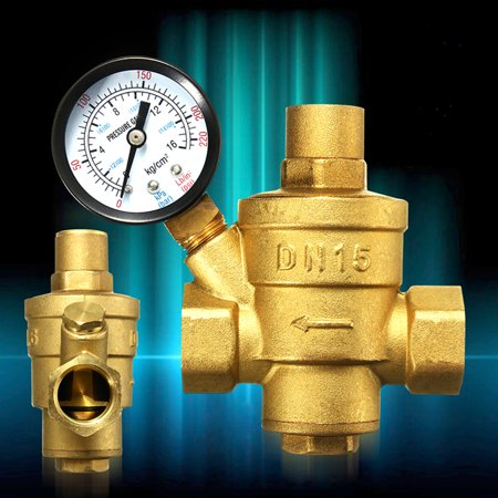 Drillpro 1/2'' DN15 Bspp Brass Water Pressure Reducing Valve With Gauge Flow