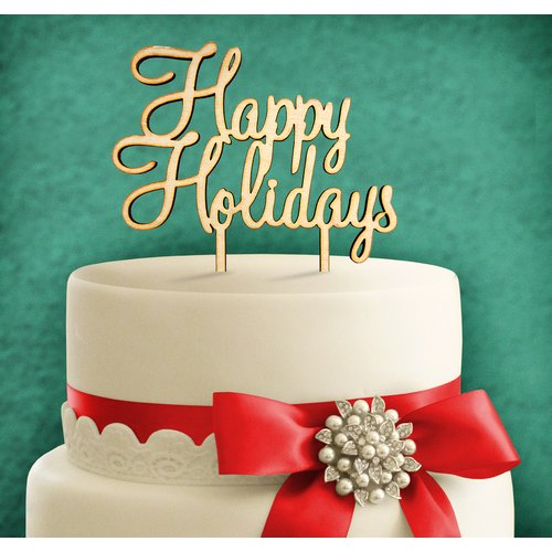 aMonogram Art Unlimited Happy Holidays, Wooden Cake Topper