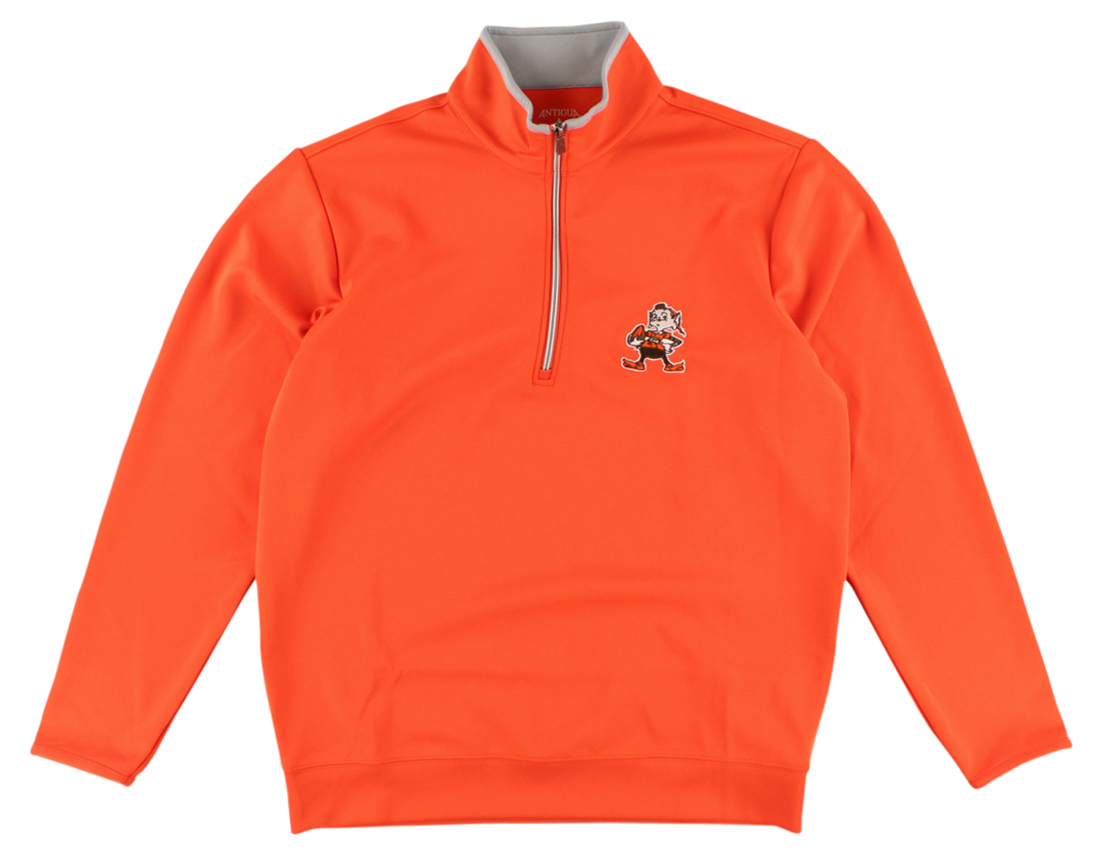 Antigua Mens Cleveland Browns NFL Leader Pullover Jacket Orange by